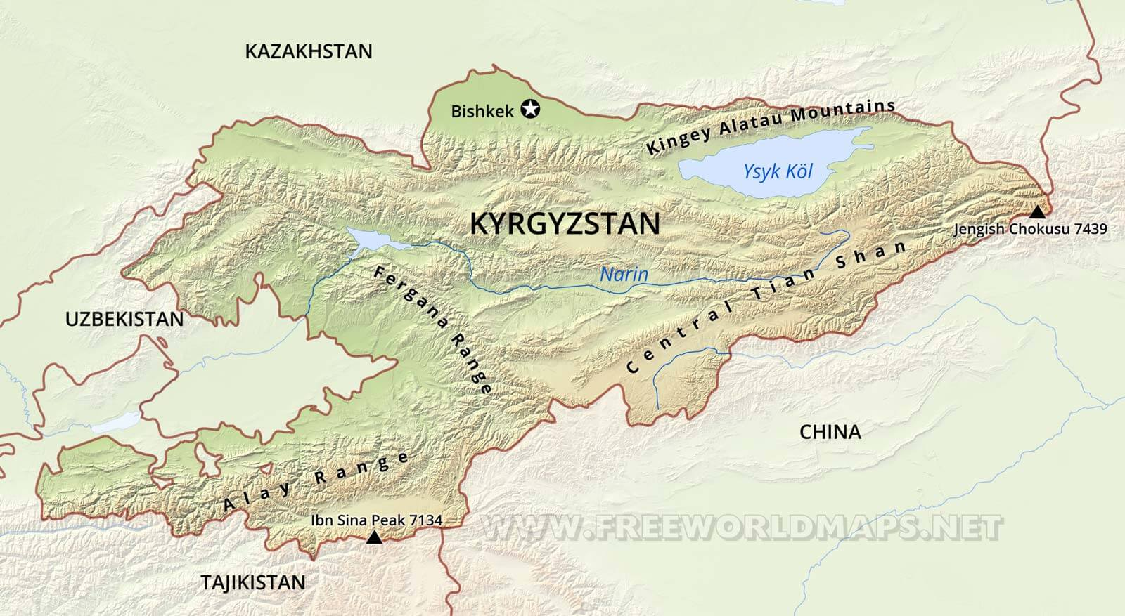 Kyrgyzstan Physical Map